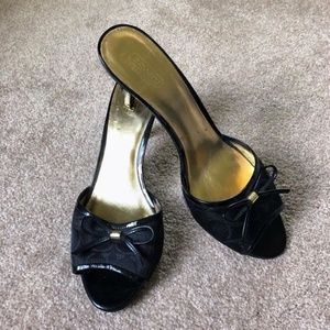 Authentic Coach Black Flip Flop Heels, size 9
